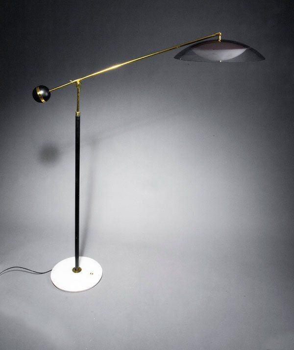 Angelo Lelli; Brass Enameled Metal Plastic and Marble Floor L& for Arredoluce : low light lamps - azcodes.com