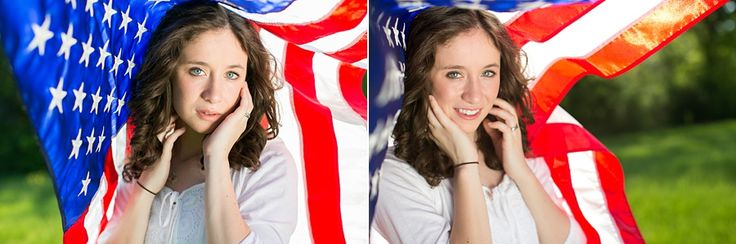 High School Senior Portraits holding American Flag in Dallas park by Chantal Brown Photography