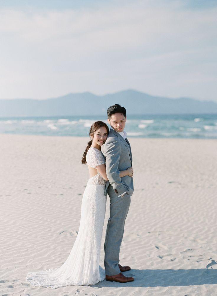 Sunny Romantic Beach Wedding Couple Pose Ideas Bride And Groom