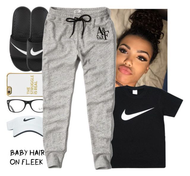 """Lazy Ootd"" by prettygurl21 ❤ liked on Polyvore featuring Ray-Ban, Nike Golf, BaubleBar, NIKE and Abercrombie & Fitch"