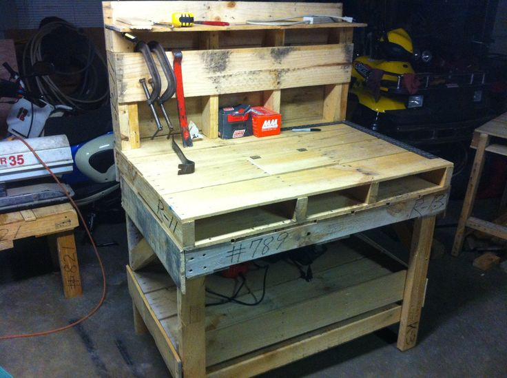 Pallet bench how-to from Youtube... I could see using this as a potting-shed bench