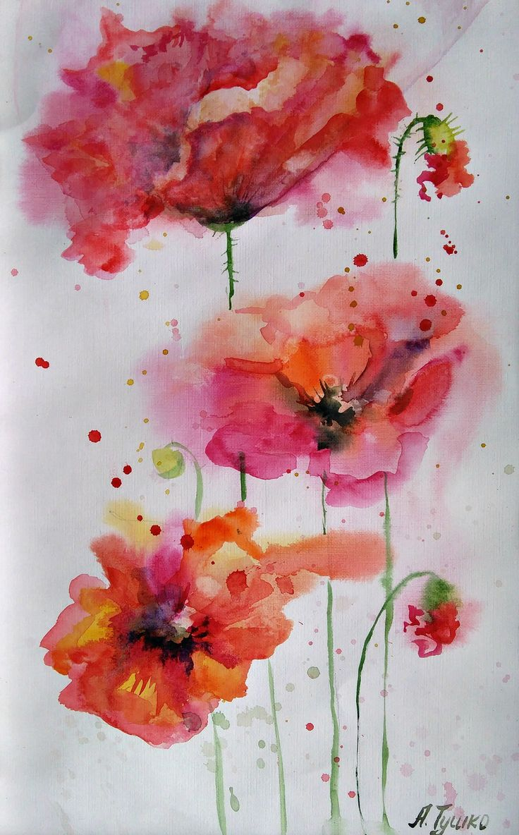 Poppies, ORIGINAL Watercolor Painting, Poppies Watercolor Painting, Orange Red, 15х11
