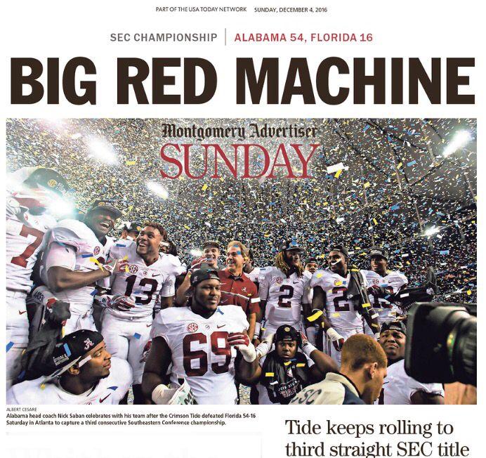 """BIG RED MACHINE"" SEC Championship Newspaper Headlines - The Montgomery Advertiser - Alabama dominates Florida 54 - 16 to win a 3rd straight SEC Championship #BAMAvsUF #SECChampionship #Alabama #RollTide #Bama #BuiltByBama #RTR #CrimsonTide #RammerJammer"