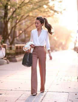 what-to-wear-hos-dress-appropriately-work-summer-hot-100-degrees-stylish- fashion-career-working-girl-business-pants-wide-leg-white-shirt 63f0c4daa