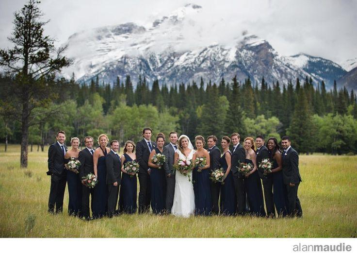 Banff Springs Fall Wedding.  Canadian Rockies.  Large wedding party.