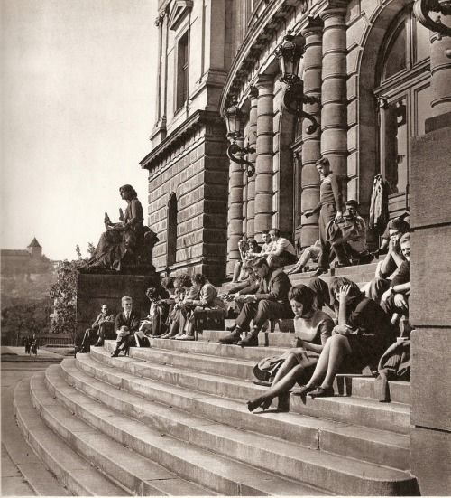 People under Rudolfinum, Prague by K.Plicka, 60s