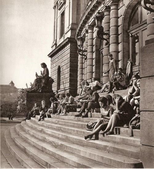 People under Rudolfinum, Prague by K.Plicka, 60s