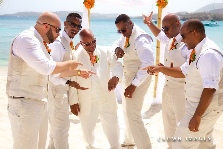 Groomsmen on Beach St. Thomas Sage Hammony Daily Blog feature http://bit.ly/1QXAiEM #lizmooreweddings