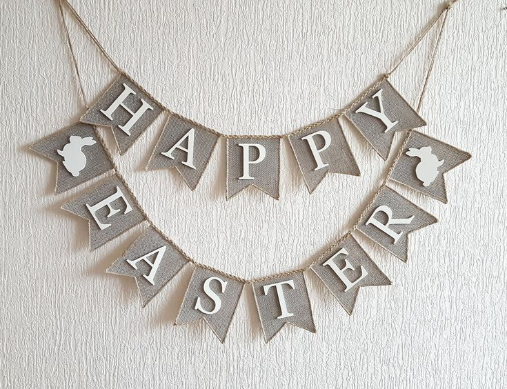 Happy Easter Banner burlap happy easter banner by FriendlyEvents