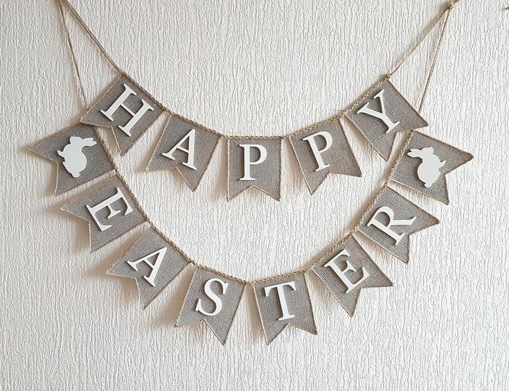 Happy Easter Banner burlap happy easter banner by FriendlyEvents