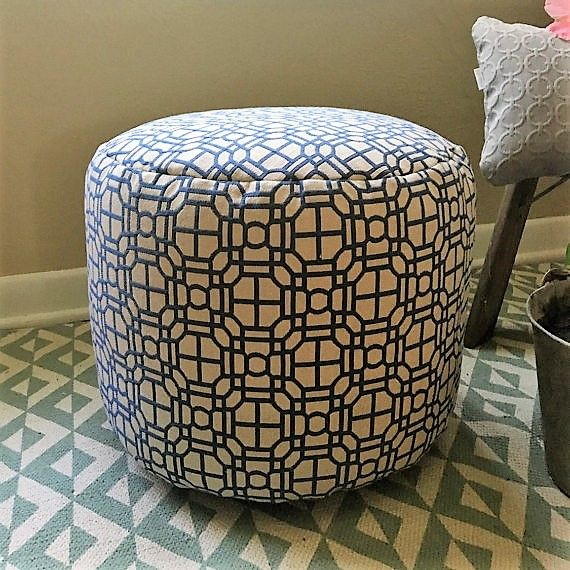 Pouf / Ottoman / round / flour cushion / foot rest / blue / beige /  White Living  Room ...