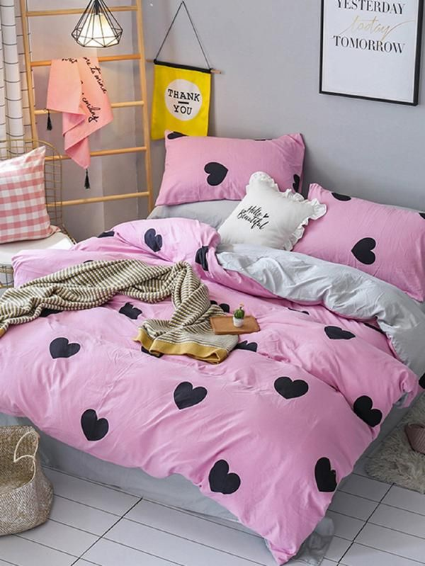 4d1d4e525d Heart & Letter Print Sheet Set -SheIn(Sheinside) | Lovely Bedroom ...