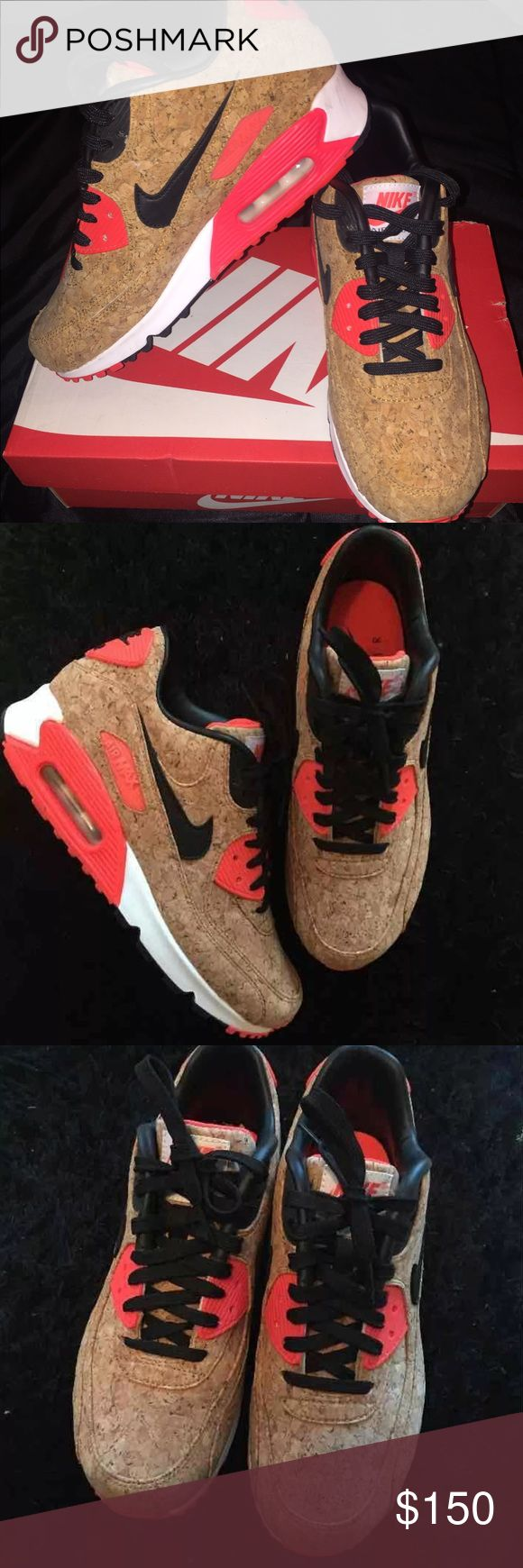 Nike Air Max's -WORE ONCE -Cork material with leather in the inside - Colors are infrared red, cork material , black & white - Comes with box, just let me know if you would like it also. Nike Shoes Sneakers