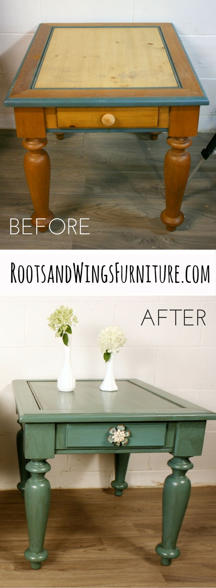 I took a $10 pair of end tables and turned them into something beautiful using General Finishes Milk Paint and Glaze Effects by Jenni of Roots and Wings Furniture.
