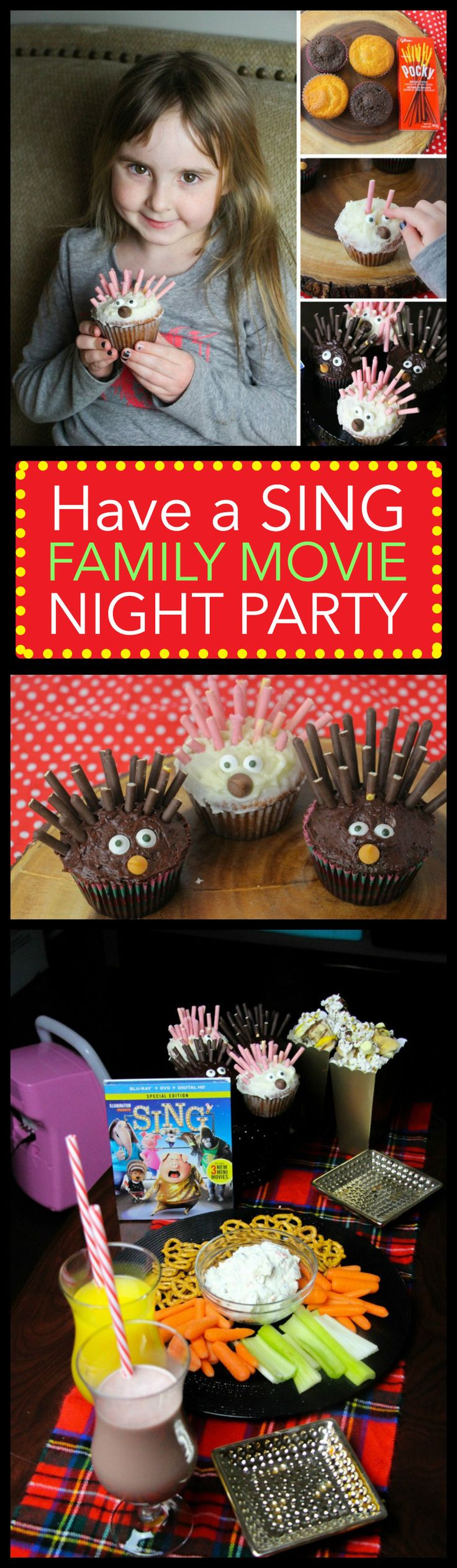 SING Special Edition is now out on DVD and Blu-Ray, so we made porcupine cupcakes, gorilla munch popcorn and several other goodies inspired by SING for family movie night! #SingMovie #SingSquad #Sponsored