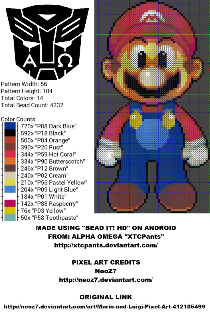 Mario Perler Bead Pattern by XTCPants on deviantART