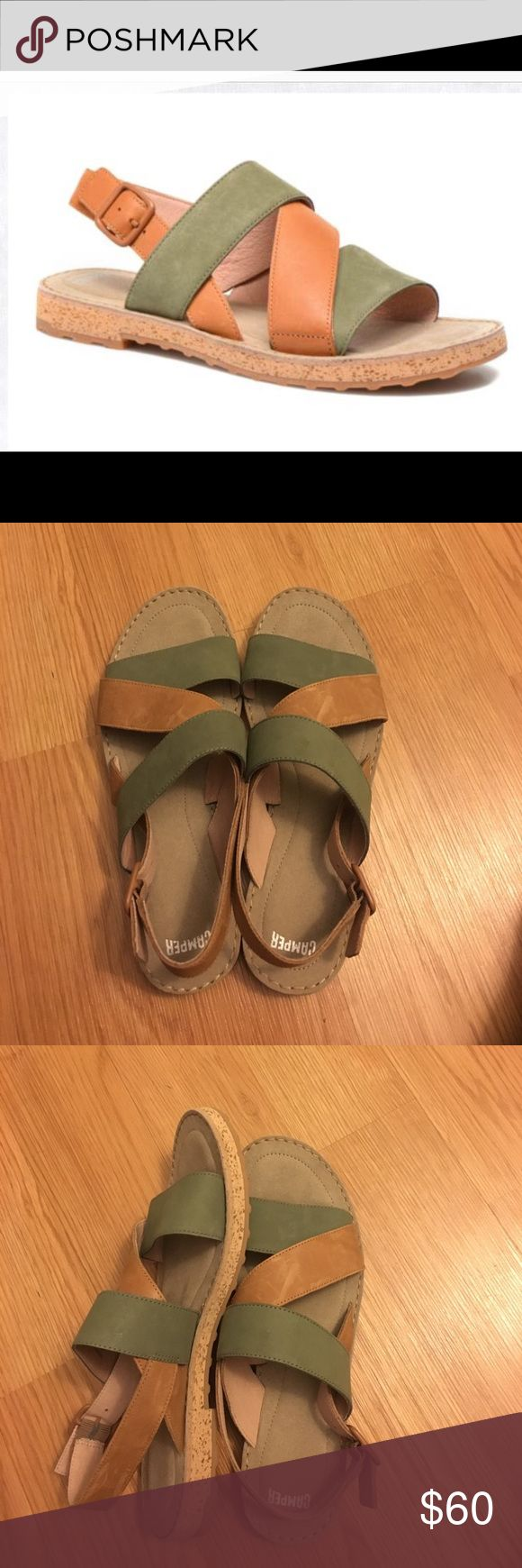 Camper pim pom sandals Camper pim pom sandals very soft suede, what's not to love about these earth tone colors ! Green and tan brand new ! Never worn ! Size 41 -I would say these fit like a 10/10.5 as they do run small!! The shoe says size 11. Open to reasonable offers !!!! Camper Shoes Sandals