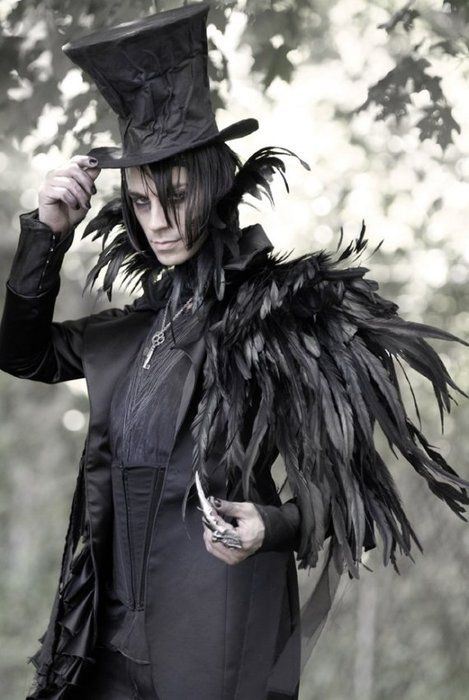 this is a little extreeme goth, but I love the black feathers/ crowlike nature of it