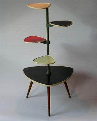 1950's wood and formica plant stand OMG