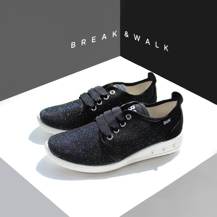 Zapatillas Glitter Negro Break&Walk