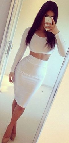 White Textured Long Sleeve Scoop Crop Top High Waisted Pencil Midi Skirt Set