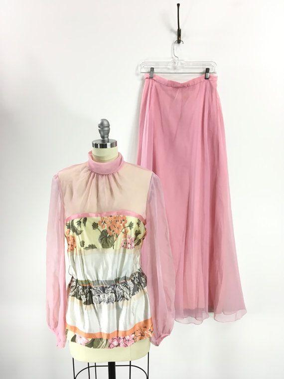 Vintage 1970s Pink Floral Chiffon Maxi Set by 86CharlotteStreet