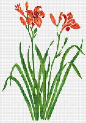 Spring+Orange+Flowers,+Flower,+Tiger+Lilies,+Floral,+Counted+Cross+Stitch+Pattern,+Xstitch