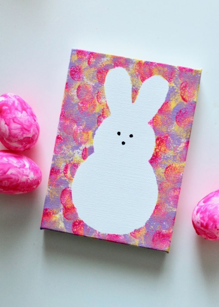 DIY Kids Peeps Bunny Canvas Art