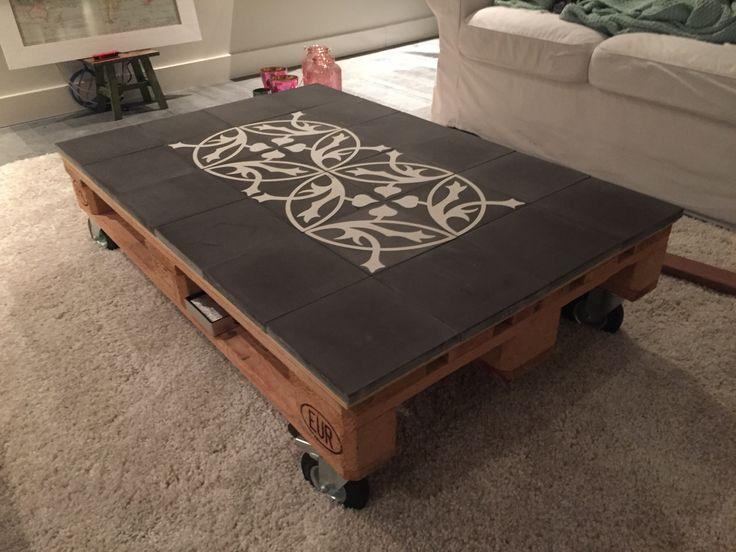 Super leuk idee voor een pakkettafel, een Castelo tegel patroon past er precies op....