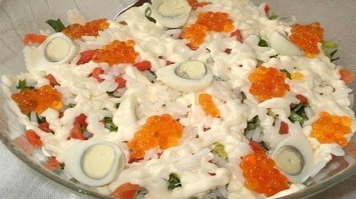 Ингредиенты:  Лосось – 160 грамм; Красная икра – 80 грамм; Белый рис – 200 грамм;  Куриные яйца ...