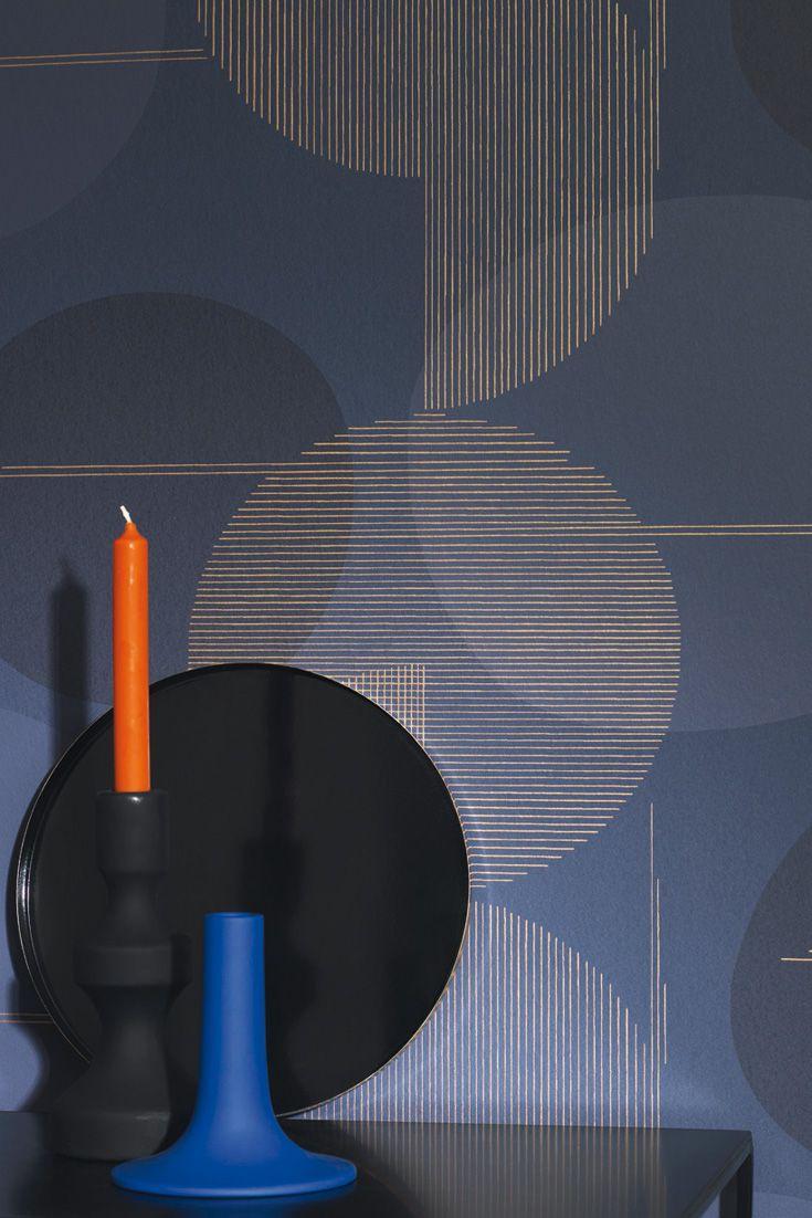 Grafische Tapete Mit Feinen Linien Und Kreisen Mit Retro Flair Tapeten Wandfarbe Muster Geometrische Tapete