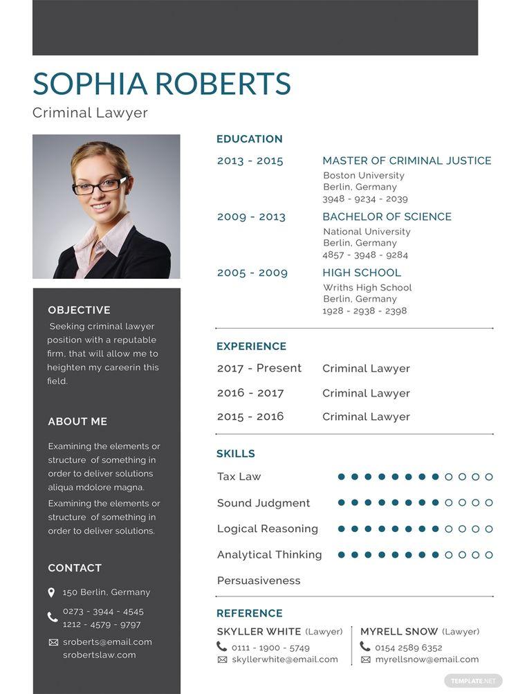 Basic criminal lawyer resumecv template word psd