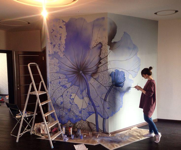 Роспись стены в доме на крыше , роспись аэрографом и воднодесперсионными красками