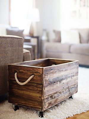 Would make a cute rustic planter box or put a lid on it and use for a coffee table  with storage space.
