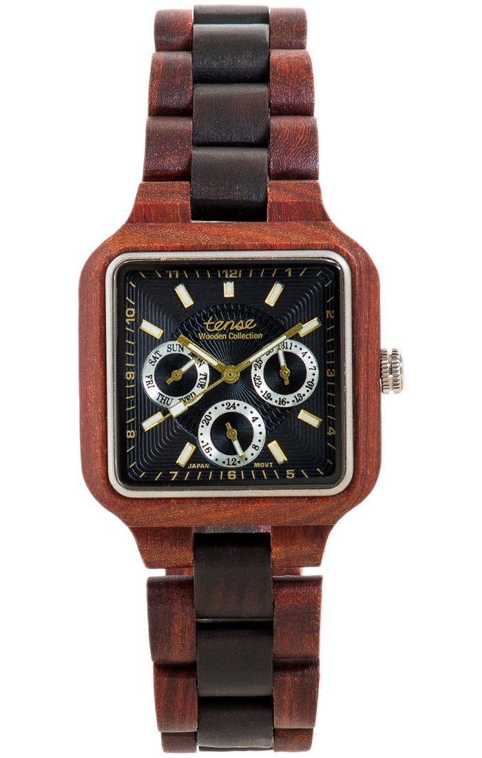 Tense Men's Summit Multifunction Watch in Rosewood and Dark Sandalwood - $209 at tensewatch.com.