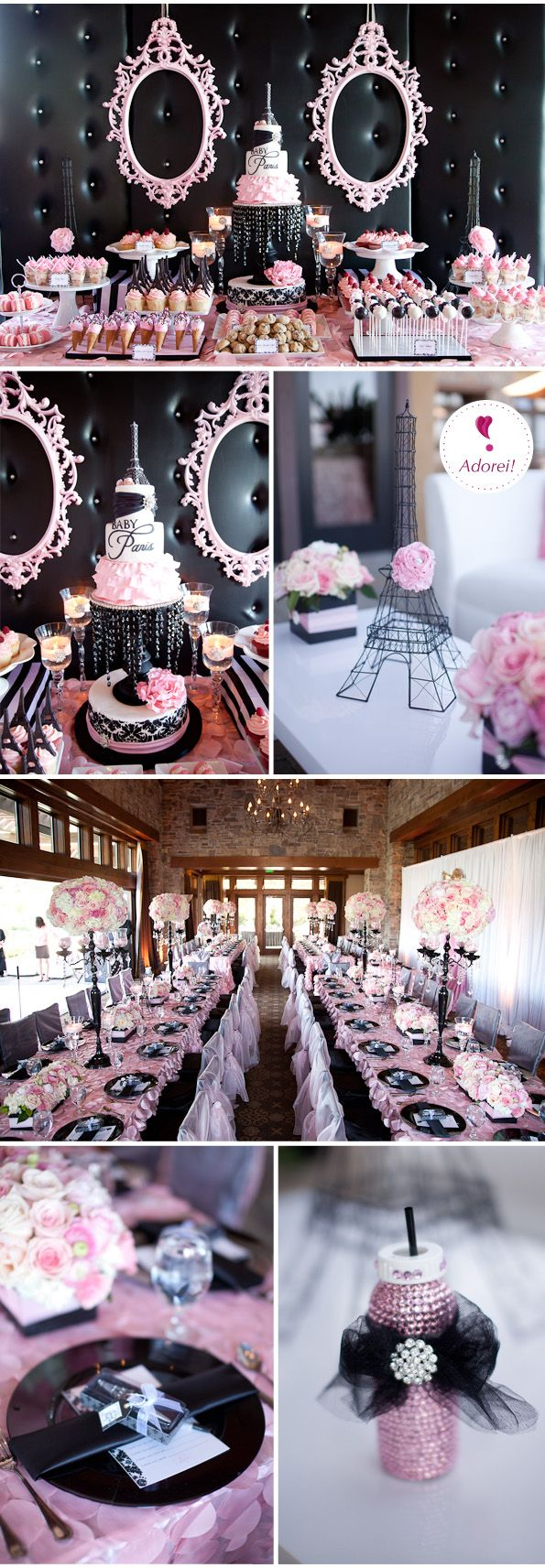 @Melissa Lou...this better be my shower theme one day! lol    Chá de bebe #20 – Baby Paris | Baby Shower Black and Pink