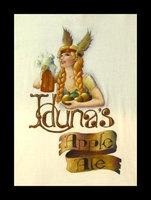 "Iduna's Apple Ale; December, 2007; acrylic on cotton shirt; 10""w x 15""h. A logo for a frosty cider ale."