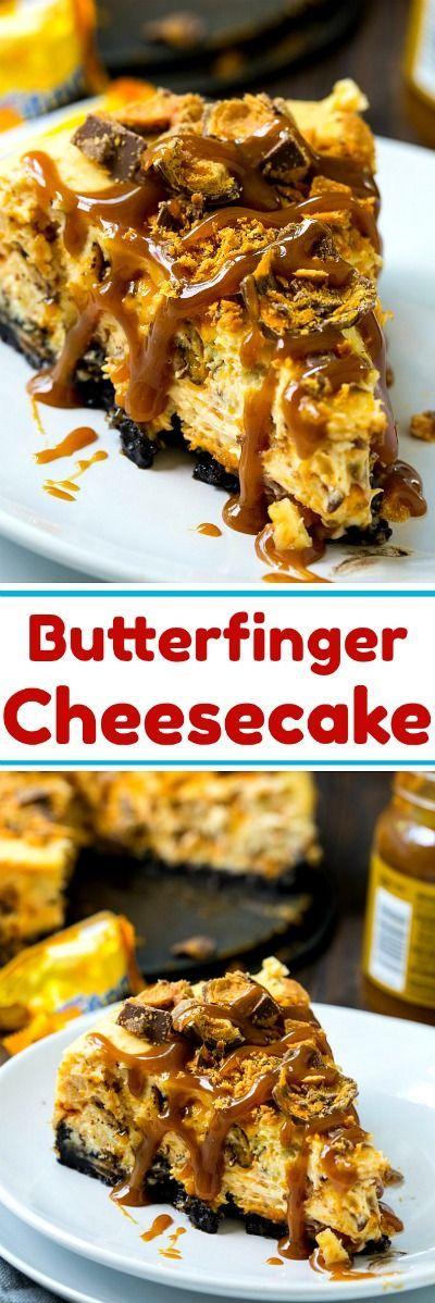 Butterfinger Cheesecake #desserts #cheesecake