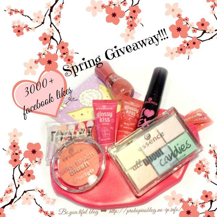 "🌼3000+ facebook likes:Spring Giveaway🌼 με δώρο #essence πακέτο σε έναν ανοιξιάτικο-εορταστικό #διαγωνισμό!!! Μια τυχερή θα έχει την ευκαιρία να κερδίσει τα δώρα (της φωτογραφίας). 🎁μαύρη μάσκαρα ""I Love Extreme"" 🎁παλέτα σκιών No02 - ""Candies"" 🎁set με 5 mini eyeshadow applicators. 🎁gel nail polish No48 - ""my love diary""  🎁στρασάκια nail stickers  🎁ροζ νεσεσέρ (lip bag) 🎁ρουζ No60 - ""life's a cherry"" 🎁lip balm σε ροζ χρώμα - ""berry kiss"" 🎁lip balm σε πορτοκαλί χρώμα - ""cherrry kiss"""