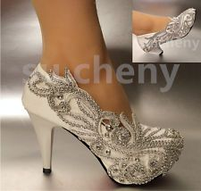 "2""/ 3"" / 4"" Lace white ivory crystal Wedding shoes Bridal heels pumps size 5-12"