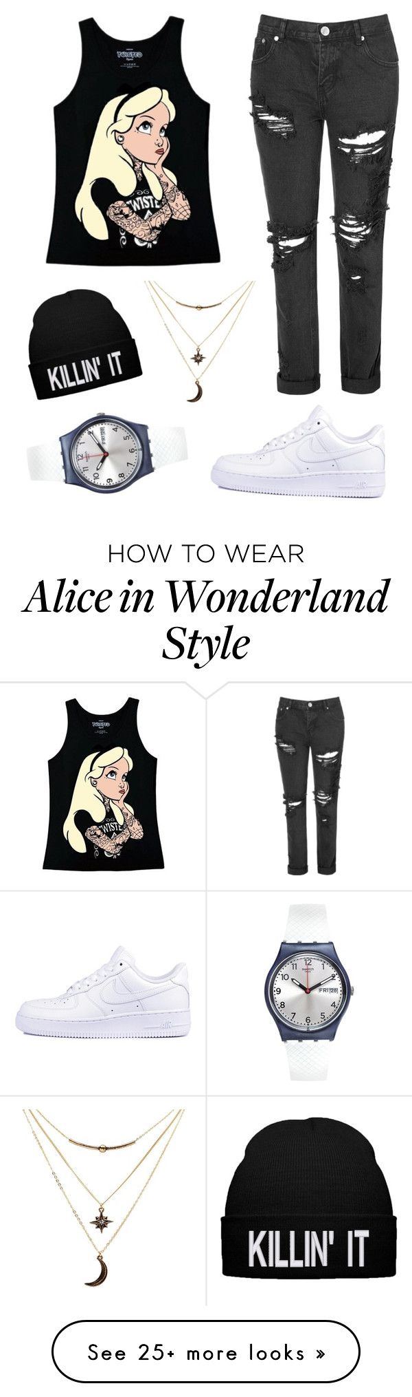 """Black Friday"" by bonitasylva on Polyvore featuring Disney, Glamorous, NIKE, Charlotte Russe and Swatch"