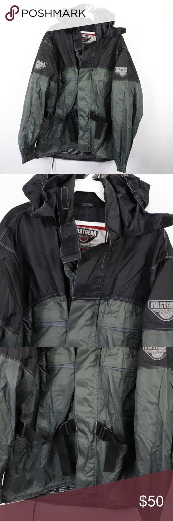First Gear Mens Large Packable Riding Rain Jacket First