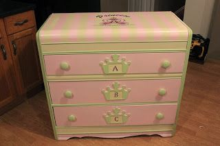 Little girls dresser, super cute, why my mom never thought to pain my ugly brown dressers when I was little, I don't know!