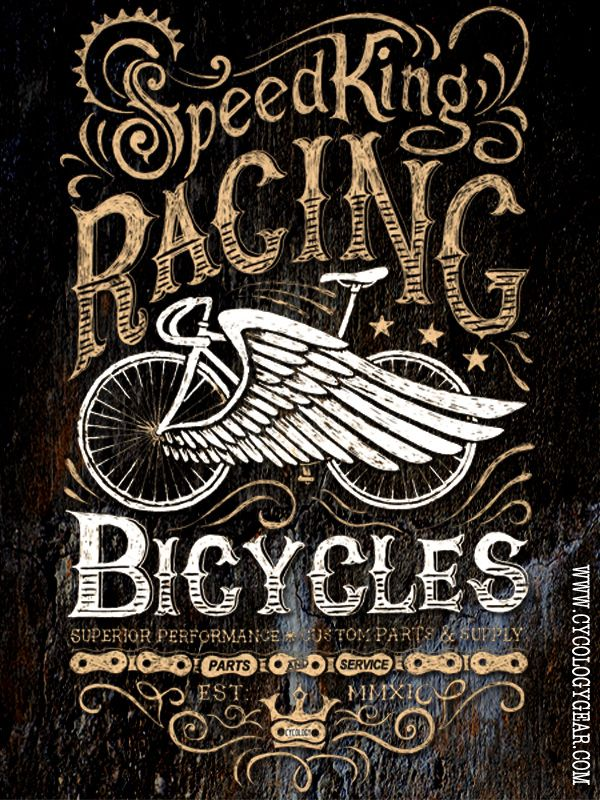 Pencil on paper, Vintage inspired design. All centered around my handmade steel frame bike  - on a tee shirt soon from www.cycologygear.com