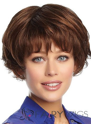 Grand Short Wavy Brown 8 Inch Indian Remy Hair Wigs