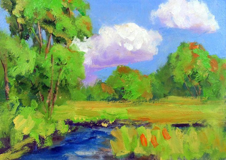 original 5x7 oil painting modern impressionist landscape by KRBStudioDesigns on Etsy