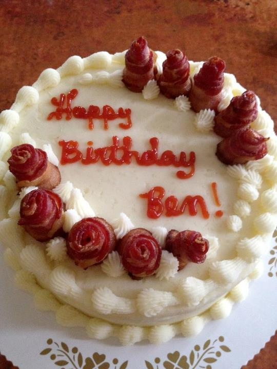 Two layers of meatloaf, layer of cheddar cheese, mashed potato icing, bacon roses with ketchup lettering! What?! From Tremont Bakery in Upper Arlington.