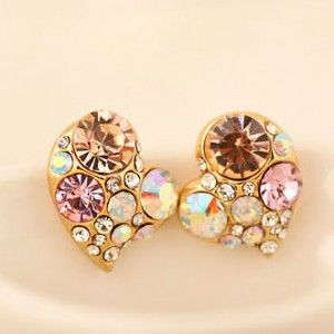 Colorful Love Heart Shape Stud Earring