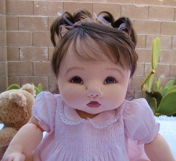 Made-to-order: Custom Soft Needle Sculpture Cloth Art Baby Doll made by Colette @ BabyBloomsDolls, $235.00