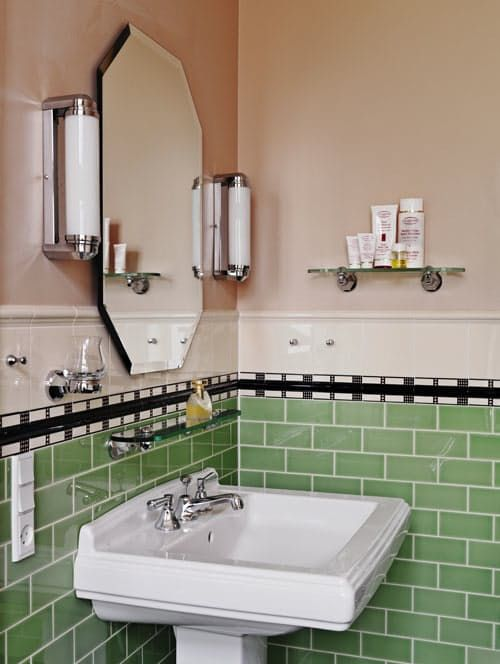 Lately I've been noticing a beautiful and intriguing new trend for the bathroom: new bathrooms designed to look like old bathrooms. If you think there's nothing more beautiful than an Art Deco bathroom covered in Art Deco tile, or if you secretly love the all-pink 50s numbers that everyone else hates — well, this look's for you.